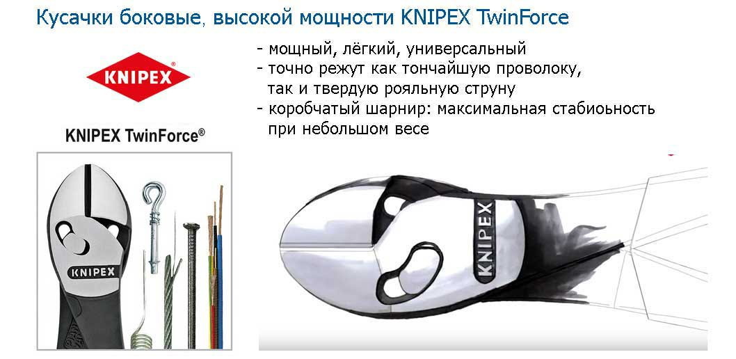 Кусачки боковые KNIPEX TwinForce®