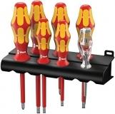 Набор отверток Wera Kraftform Plus Серия 100 + индикатор напряжения + подставка, 160 i/7 Rack, 05006147001