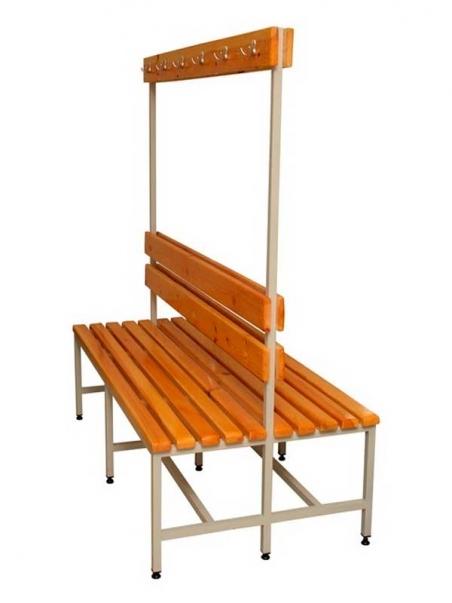 Скамейка 2СВ-2000 двухсторонняя, спинка и вешалка с крючками