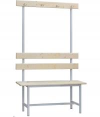 Скамейка СВ-1000 односторонняя, спинка и вешалка с крючками